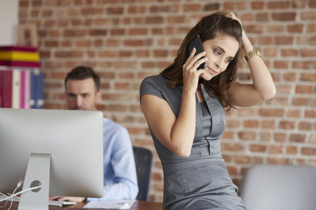 Problems at work of young woman